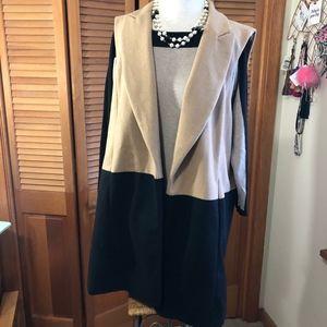 ELLE sleeveless blazer lined vest camel/black